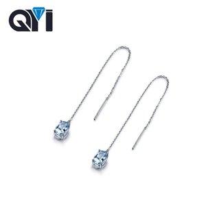 QYI 2.5 ct Овальный вырезать голубой топаз мотаться серьги 100% стерлингового серебра 925 драгоценный камень обручальные серьги для женщин годовщины