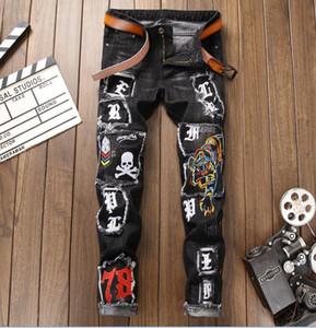 Uomini di alta qualità più toppa teschio tigre stampa di moda Jeans Designer uomo Jeans Famous Brand Slim Fit Mens stampato Jeans Denim Pants 8023