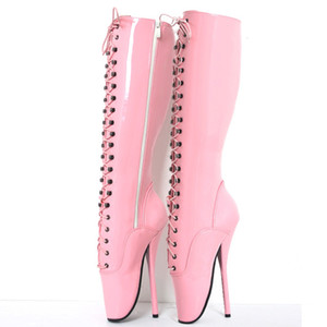 """18 cm / 7 """"Kadınlar Spike Yüksek Topuklu Fetiş Bale Çizmeler dantel-up Pembe Adam Seksi BDSM Cosplay Ayakkabı unisex Diz Yüksek Çizmeler boot Artı boyutu"""