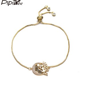 Pipitree Moon Star Angel Charm Bracelet Black Infinity Copper Cubic Zirconia Bracelets Adjustable Chain Jewelry Birthday Gift