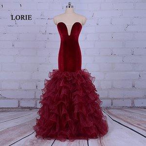 Burgundy Long Prom Dresses Robe de soiree courte 2017 Elegant Women Mermaid Evening Gown Formal Long Party Dresses With Ruffles