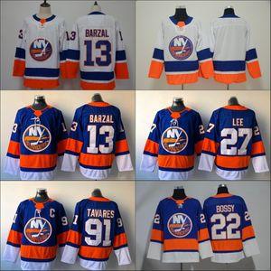 13 Mathew Barzal Jersey 2020 Islanders de New York 27 Anders Lee 91 John Tavares 22 Mike Bossy Blank No Name Bleu Hockey Maillots pas cher
