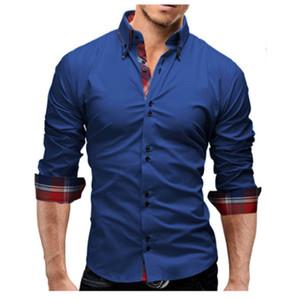 Camicia elegante 2018 Spring New Brand Business Uomo Slim Fit Uomo Camicia Maniche lunghe Camisa Casual Camilla Masculina 3XL 05