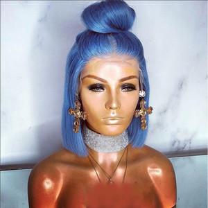 الاصطناعية الرباط الباروكات الأزرق مستقيم الشعر 150 الكثافة بوب قصيرة الأزرق الاصطناعية شريط جبهة لمة مقاوم للحرارة قصيرة الشعر المستعار للمرأة السوداء