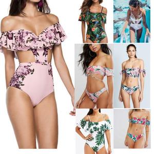 Nouvelle arrivée Bkini fashion Lady fleurs Imprimé imprimé Bikini Set sexy Hollow Out Maillot de bain Ensemble de bikini Triangle ones S / M / L / XL