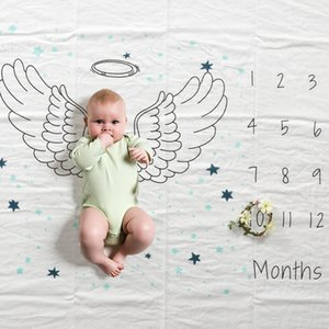 Baby Photo Monthly Growth Milestone Blankets Infants photo prop Blankets Swaddling Letter Angel wing print photo cloth blanket BHB23