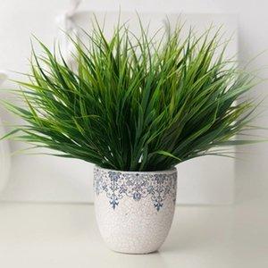 جديد 7-fork الأخضر العشب نباتات اصطناعية للبلاستيك الزهور المنزلية مخزن دست ريفي الديكور البرسيم النبات بالجملة