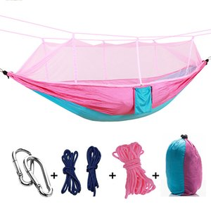 Mosquito Net Hammock 12 Colors 260*140cm Outdoor Parachute Cloth Field Camping Tent Garden Camping Swing Hanging Bed cny503
