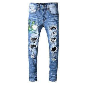 Homens Angustiado Jeans Rasgado Designer de Moda Hetero Motociclista Motociclista Jeans Mens Snake Bordado Afligido Patches De Couro Sneak Pants