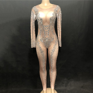 sexy Sparkly Silver Crystals Jumpsuit Sexy Big Rhinestones Nude Bodysuit Women Birthday luxurious Evening Costume Wear