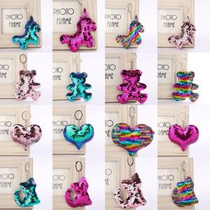 72 estilos Flamingo estrella unicornio Corazón Llavero Brillo Sirena Lentejuelas Llavero Regalos para bebé Encantos Bolsa de coche Llavero Favor de partido C5465