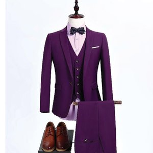 Üç Parçalı Mor Erkekler Düğün Groomsmen Giymek için Fit Trim Fit Custom Made Damat Smokin Akşam Yemeği Takım Elbise Ceket Pantolon Yelek