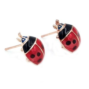 Hot Selling Fashion Cheap Ladybug Earrings Jewelry Life like red with black Stud Earrings For Women