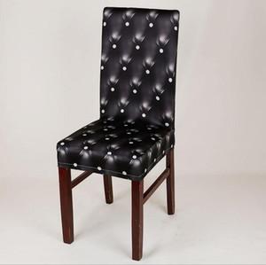 Coprisedile nero all'ingrosso Elastico Spandex Home Decor Dining Stretch Chair Coprisedile per hotel ristorante stampato Slipcovers