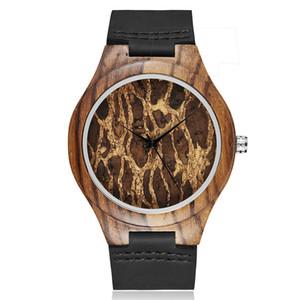 Hombre creativo Reloj de madera de cuero negro único diseño simple moda elegante reloj de pulsera de madera hombres reloj relogio masculino regalos