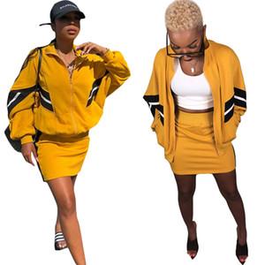 Nuovo!! Cappotto a maniche lunghe con cerniera a righe nere gialle moda e gonne corte Due pezzi Casual Tute 2018 Autunno Wear
