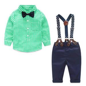 baby boys clothing sets infant cotton plaid shirt pants children spring autumn fashion gentleman sport suits