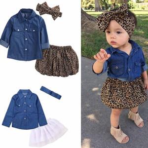 Ins Kids conjuntos de roupas de menina denim camiseta + leopardo curto + headband define a menina t shirt conjunto de roupas de estilo pleuche conjuntos