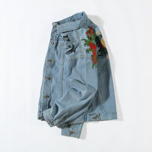 Mens Jaqueta Jeans Luxuy Marca Designer Jaqueta Tripulação Pescoço Moda Padrão de Impressão Casaco de Jean Roupas de Manga Longa Dos Homens