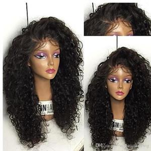 Pelucas afroamericanas baratas 150% de largo negro Afro rizado Pelucas sintéticas rizadas Pelucas delanteras del cordón de Gluelese resistentes al calor para las mujeres negras