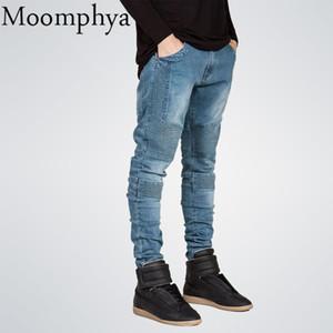 Moomphya Homme Jeans skinny homme Runway Distressed jean slim élastique Jeans Biker Pantalon hip hop délavé Plissé bleu