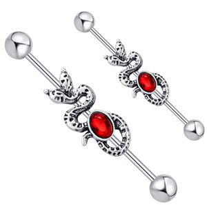 14G Stainless Steel Snake with Red CZ Gem Industrial Bar Piercing Barbell Earring Fashion Body Jewelry Pircing 20pcs