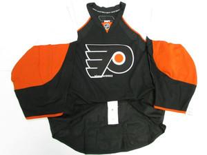 A buon mercato personalizzato PHILADELPHIA FLYERS NERO SQUADRA ISSUED EDGE JERSEY GOALIE CUT 60 Mens cucito maglie hockey personalizzati