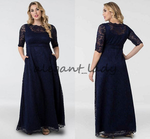 Navy Blue Leona Lace A-Line Plus Size Mother of the Bride Groom Gowns with Sleeves Modest Custom Make Women Occasion Formal Prom Dresses