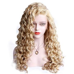 Livre Parting Loiro solto Curly sintética rendas frente Wigs Mixed Amarrado Mão Cor longa peruca 180% de densidade de calor fibra resistentes para mulheres brancas