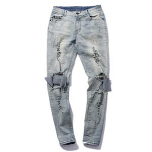 FOG hommes Détruite Pantalons Skinny Jeans tournée Black Holes Lightblue Jeans Slim Fit Cadrage Denim Pant