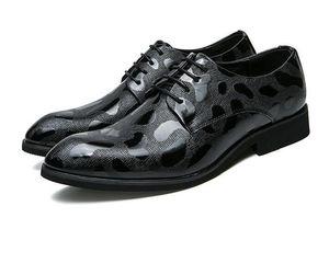 2018 Man point toe dress shoe Italian designer formal mens dress shoes genuine leather black luxury wedding shoes men flats office N283