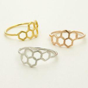20PCS Anelli a forma di nido d'ape di nuova moda e anello esagonale collegato per gioielli da donna Regalo di Natale di compleanno