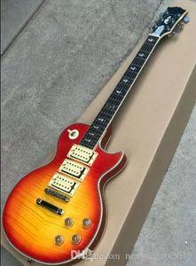 Custom Shop Ace Frehley Budokan Signature Cherry Sunburst Flame Maple Top Guitarra eléctrica Tres pastillas, Aligeramiento Bolt Inlay En stock