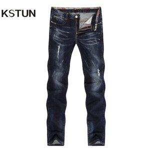 KSTUN Hommes Jeans déchirés Striaght Slim Épais Bleu foncé Élasticité Peint Doux Biker Jeans High Street Détresse Cowboys Pantalon