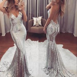 2019 argent brillant paillettes robes de bal bretelles spaghettis dos ouvert longues robes formelles faites sur mesure