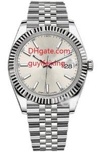Reloj para hombre de lujo 41 mm 126334 Plata Dial Flauta Bisel Maquinaria automática Para hombre Reloj deportivo Reloj de acero inoxidable para hombre Relojes de fecha Envío gratis