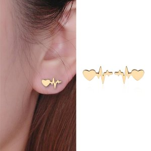 New Fashion Love Heart with Heartbeat Stud Earrings Donna Electrocardiogram Earings Girl Gift brincos # 271797