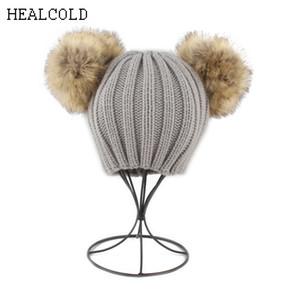 Kış Sıcak Örme Beanies Şapkalar Çocuklar Için Çift Kürk Ponpon Şapka Kız Erkek Pom pom Bere Kap