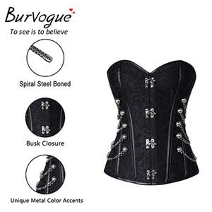 Burvogue Steampunk corsetto Mezzo di controllo sexy corsetti e Bustie acciaio dell'osso del corsetto Top Overbust gotico Bustino corsetto Plus Size Buono