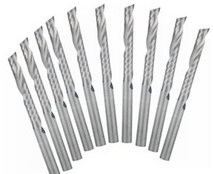 Ücretsiz Kargo Marka Yeni 10 Adet / takım 3.175x22mm Tek Flüt Spiral Karbür CNC Router Metal Uçları Freze