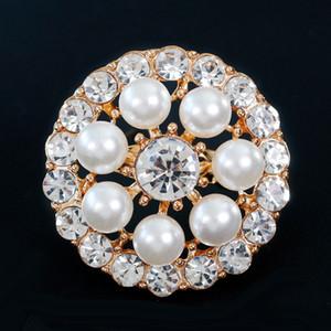 Nuovo arrivo Spille monili delle donne Pin circolari Spille White Pearl di cristallo spilla boutique signora Party Dress Spilla 12PCS