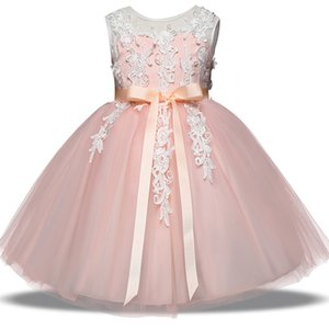 Baby flower dress TUTU Bow Princess robes 2018 nouvelle mode Vêtements pour enfants Boutique filles robe de bal 4 couleurs C3437