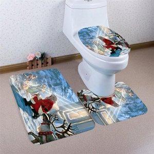 Çevre Dostu 3PCS Noel Banyo Tuvalet Kaymaz Kaideye Kilim + Kapak Tuvalet Kapak + Banyo Paspas Seti Drop Shipping 71016
