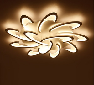 Surface Mounted Modern LED Ceiling Lights Chandelier For Living Room Bedroom White / Black Chandeliers Acrylice Lampshade Lamp Lighting LLFA