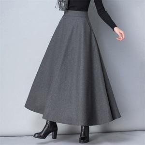 Winter-Frauen-lange Woll Rock Art und Weise mit hoher Taille Grund Wolle Röcke Weibliche beiläufige dicke warme Elastic A-Line Maxiröcke O839