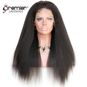 "Premier 360 Tam Dantel İnsan Saç Peruk Brezilyalı Remy İnsan Saç Peruk 12-24 ""Amerikan Sapıkça Düz% 150% Yoğunluk İnsan Dantel Peruk"