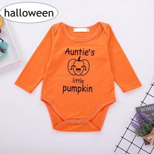 """""""Auntie'nin küçük balkabağı"""" Bebek cadılar bayramı Romper mektup baskı turuncu rompers Boy Kız 0-2years için Pumpkins baskı Tulumlar"""