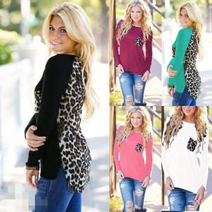 Womens Tops Yuvarlak Boyun Uzun Kollu T Gömlek İlkbahar Sonbahar Bayanlar Bluz Örme Dikiş Leopar Şifon T-shirt Avrupa Tarzı Üst S-5XL