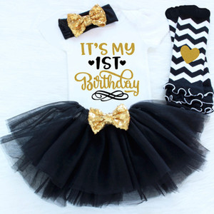 Newborn Baby Clothing Girl First 1st 1 2 2nd Birthday Party Outfits Fluffy Tutu Little Baby Clothing Romper+Skirt+Headband Sets Suits