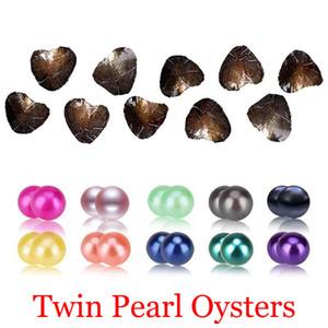 2018 DIY Akoya alta qualidade shell barato amor Freshwater Twins pérola ostra ostra 6-7mm pérola com Atacado embalagem a vácuo